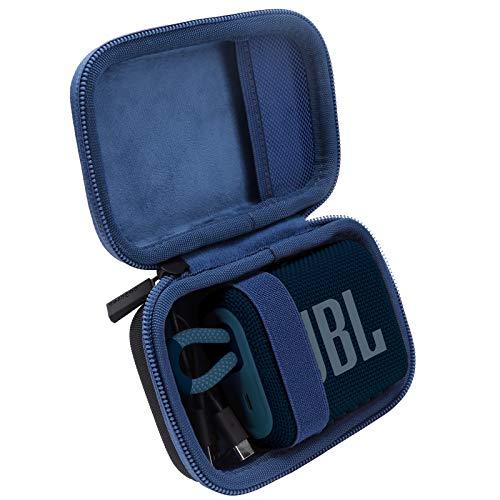 co2CREA Duro Viajar Caja Estuche Funda para JBL GO 3 Altavoz inalámbrico portátil con Bluetooth(Funda Solo) (Caja Negra+Azul Interior)