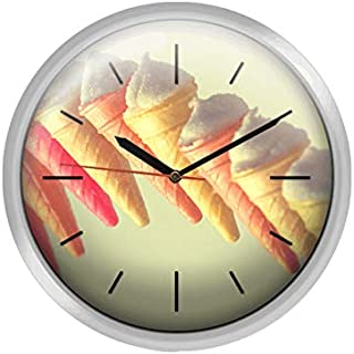 Ice Cream Silver Embossed Bordered Wooden Wall Clock MGT182 30 X 30 Cm