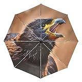 Ombrello da viaggio piccolo antivento da esterno pioggia sole UV auto compatto 3 pieghe ombrello copertura - poiana harris falco rapace uccello rapace selvatico