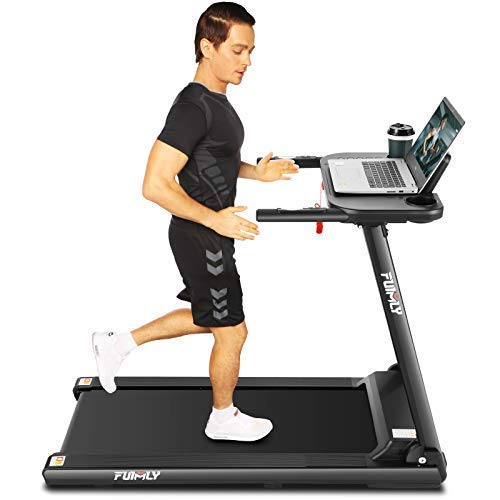 FUNMILY Folding Treadmill, 2.25Hp Treadmills with Large Desk and Heavy Duty Steel Frame, 12 preset Programs, Best Walking Running Exercise Treadmill Machine for Home Gym Office Cardio Use AMA012