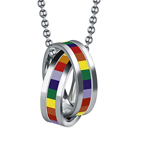PAMTIER GAY Pride Rainbow Double Cross Rings Pendant Necklace Lgbt Lesbian Flag with Chain Homosexual