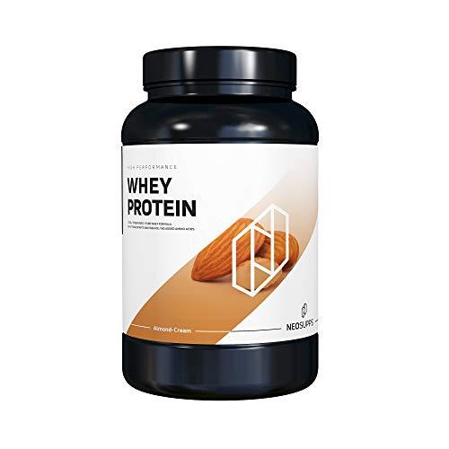 Premium Whey Protein für Muskelaufbau & Abnehmen in leckeren Geschmäckern | Low Carb Eiweiß-Shake, Eiweiß-Pulver mit Aminosäuren (BCAA) | 1kg NeoSupps Protein Pulver – Mandel Creme