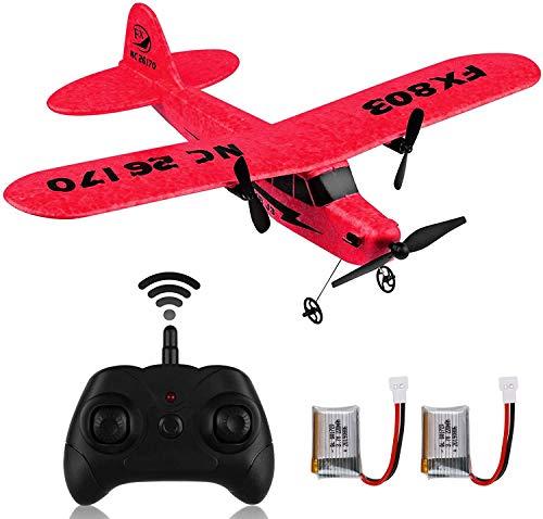 Avión teledirigido: RC Plane 2,4 GHz, 2 canales, con giroscopio de 6 ejes, fácil de volar, para principiantes y niños FX-803