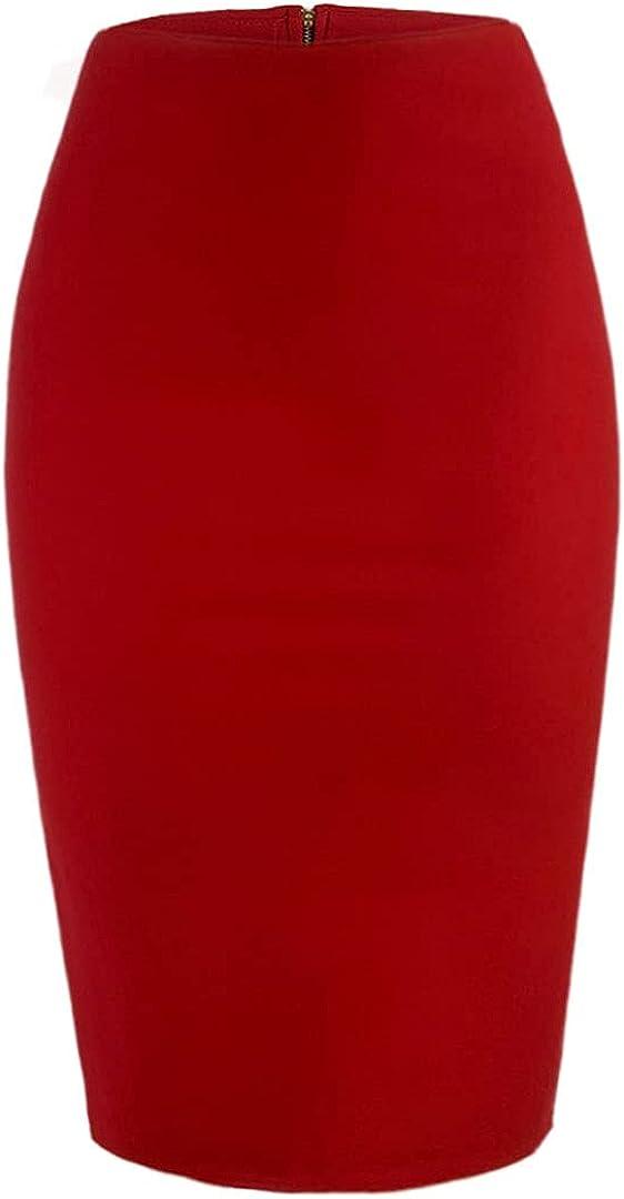WANG SHUN HONG Women's Zipper High Waist Bag Hip Slit Mid-Length Skirt Casual Work Skirt