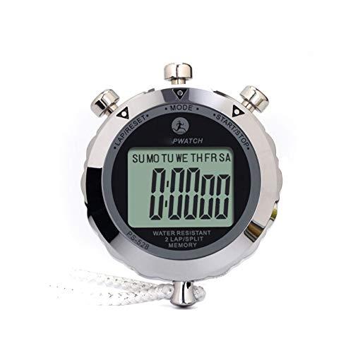 HENGXIANG Cronómetros, Pantalla Grande, Fuente Grande, cronómetro Deportivo, cronómetro de Carrera única de Metal (Plateado, 74 * 60 * 15 mm)