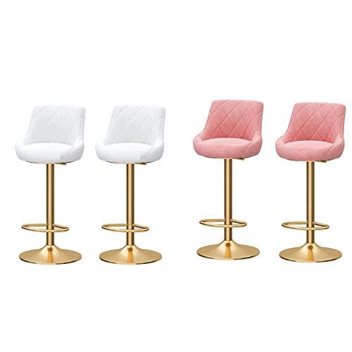 Taburetes de bar Conjunto de taburete de barra moderno, cocina de desayuno de cocina Sillas de bar, taburete giratorio de 360 ° con reposapiés, altura ajustable (65-80 cm), rosa y blanco Taburete