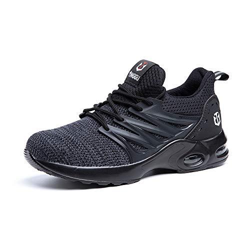 Zapatos de Seguridad para Hombre Zapatillas Deportivas de Mujer Puntera de Acero Calzado de Industrial Trabajo Construcción Botas Tácticas Trekking H Negro EU45