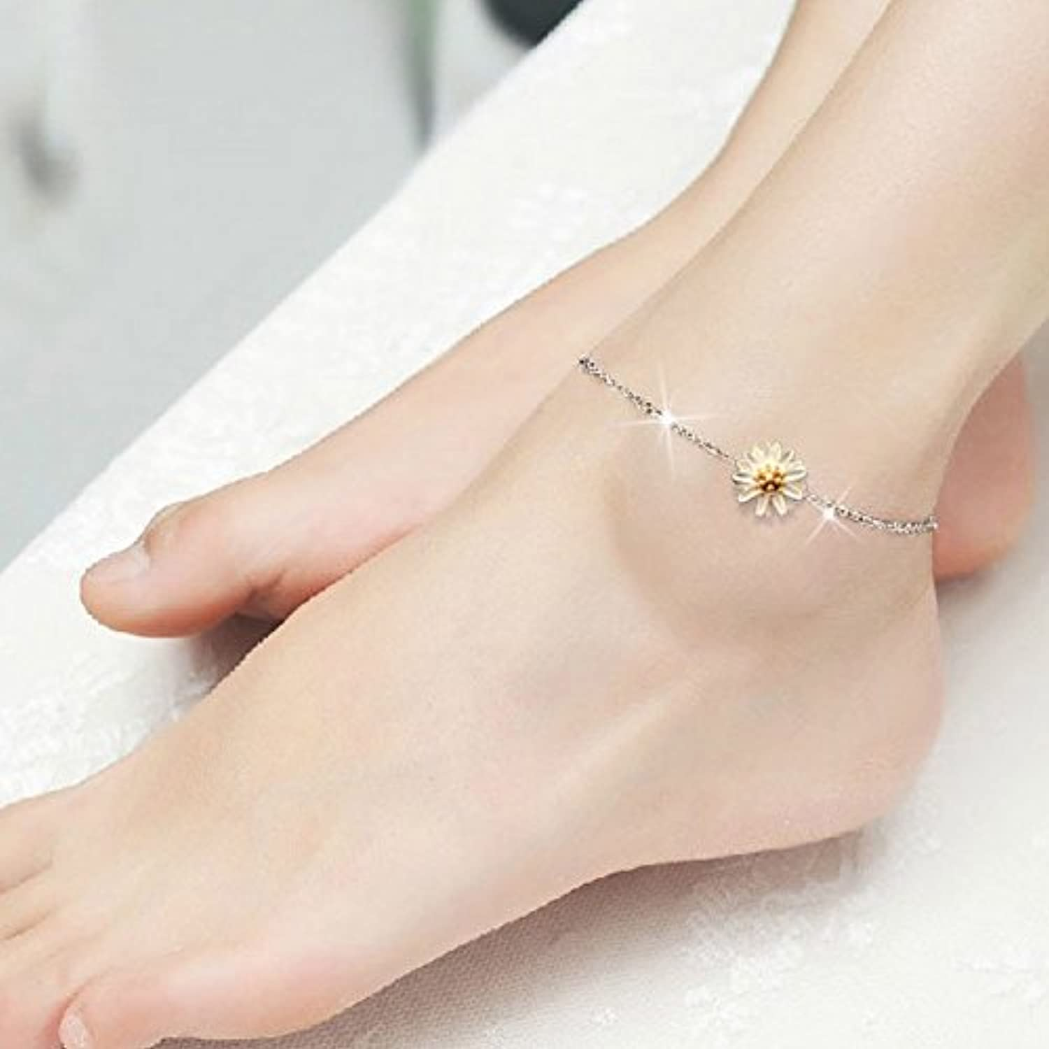 Women's s925 Sterling Silver Jewelry Gerbera Daisies Foot Chain Anklet Popular Series