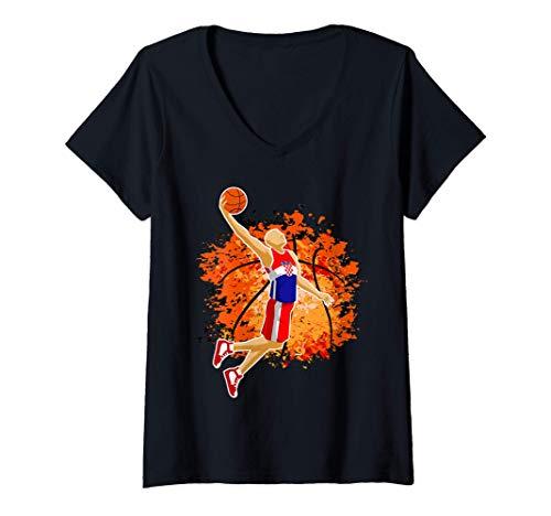 Damen Croatia Basketball Team Croatian Flag Slam Dunk Sport Lover T-Shirt mit V-Ausschnitt