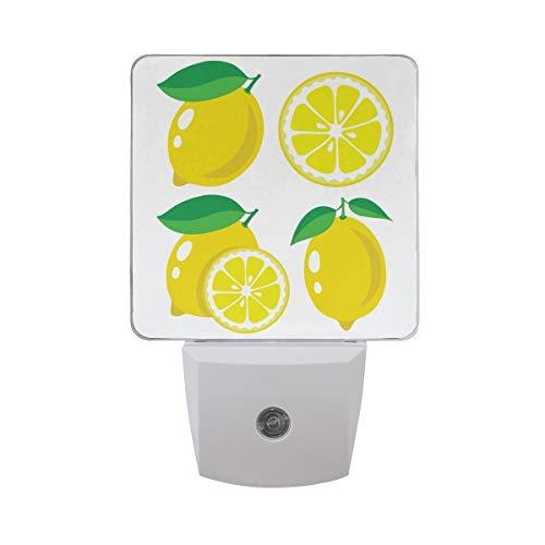 AOTISO Vers Citroenfruit met Plak op Wit Autosensor Nachtlicht sluit binnen aan