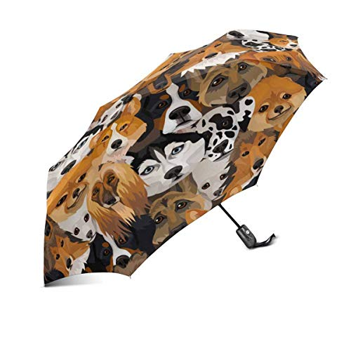 InterestPrint Funny Dogs Different Breeds Windproof Automatic Open and Close Folding Umbrella, Unbreakable Portable Outdoor Travel Compact Umbrella with UV Protection