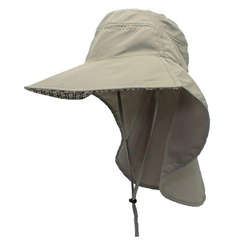 Outdoor Sonnenhut UV Nackenschutz Booniehut Sonnenschutz Schnell trocknend Schirmmütze Wasserdicht Sommer Hut für Angeln Wandern Camping Boating-Grau