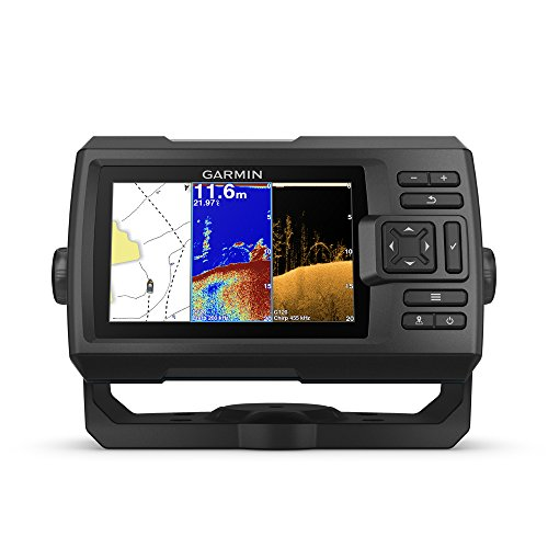 Garmin Striker Plus 5cv with Transducer, 5 GPS Fishfinder with CHIRP Traditional and ClearVu Scanning Sonar Transducer and Built In Quickdraw Contours Mapping Software