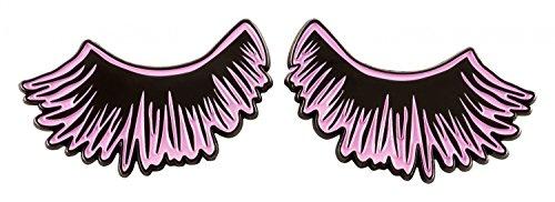 likalla Pin Anstecker Button Lashes, nickel-plattiert (schwarz) mit rosa Emaille. Freche Girlie Brosche zum Anstecken mit Sicherheitsverschluss.