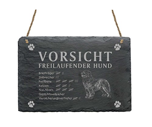 Schiefertafel « NEUFUNDLÄNDER - VORSICHT FREILAUFENDER HUND » Schild mit Hunde Motiv - Türschild Dekoration - Garten Terrasse Tor Eingang