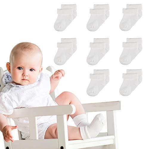 Lictin Calcetines para Bebés -8PCS Calcetines Unisex para Bebés con Banda Elástica,Suaves y Transpirables,para Bebés de 0 a 6 meses(Blanca)