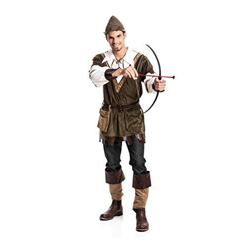 Kostümplanet® Robin Hood Kostüm Herren Faschings-Kostüm Mittelalter Kleidung Männer Jäger Outfit Set Verkleidung Bogenschütze Erwachsene Größe 52/54