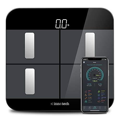 Innotech Personenwaage Smart Bluetooth Digital Badezimmerwaage für Gewicht und Körperfettanalyse mit Kostenloser App, Kompatibel mit Apple Health, Google Fit