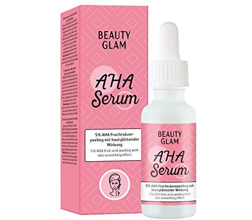 Beauty Glam – AHA Serum – Peeling-Serum mit 5% AHA Fruchtsäure – für ein feineres Hautbild- Vegan, silikonfrei, ohne Farbstoffe, ohne Parfum, Made in Germany - 30...