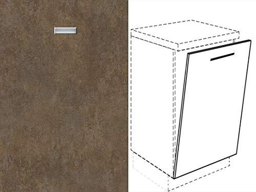 Premium-Ambiente FRT347 Unterschrank Front für Geschirrspüler eingelassener Handgriff FE (Breite 60cm-vollintegriert, 02 Ferro Bronze)