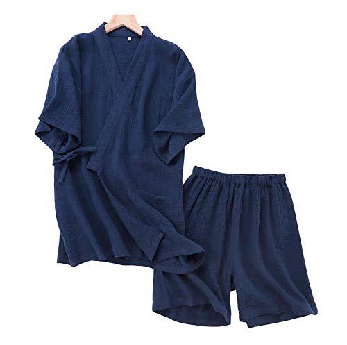 Dragon Troops Pijama de Kimono de Algodón de Hombre de Manga Corta Estilo Japonés, A1