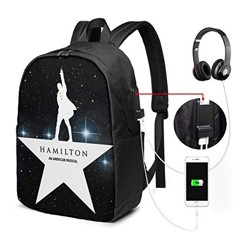 Lawenp Boston Hamilton Logo Laptop Backpack 17 Inch College School Backpack with USB Charging Port Casual Daypack for Travel