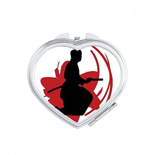 DIYthinker Bushido Samurai Katana Sakura Halten Silhouette Japan Asien Herz Compact Make-up Taschenspiegel Tragbare Nette kleine Hand Spiegel Geschenk Mehrfarbig