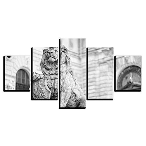 LVGUMM Cuadro En Lienzo 150x80 CM 5 Panel Estatua De León Animal De La Ciudad ImáGenes De ImpresióN De Arte Cartel Modular Moderno Fondo De Pantalla Sala De Estar Del Hogar Cuarto De Los NiñOs Decorac