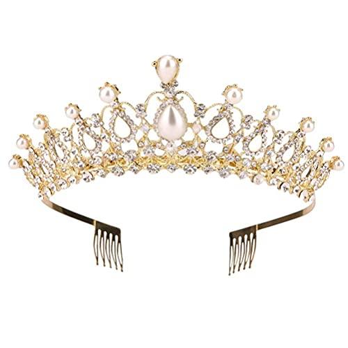 DealMux Tiara Crystal Crown Rhinestone Alloy Queen Crowns Diadema con peinetas para...
