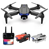 GPS-Drohne mit 4K Dual-Kamera - 2-Achsen Gimbal Anti-Shake Headless Mode Brushless Motor - One Key Return Home Selfie WiFi Live Video - Wegpunkte Circle Fly Langstreckenflug mit Tragetasche (Schwarz)