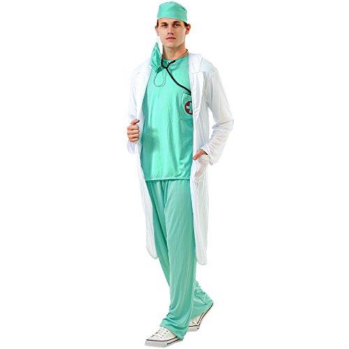 Dashing Doctor Men's Halloween Costume MD Medic Surgeon Coat Hospital Scrubs, Green, Medium