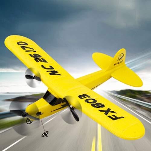 Lihgfw Fernbedienungsebene, tropfenbeständiger Schaumstoff-Fixflügelkämpfer, wiederaufladbares Drohflugmodell, Kinder im Freien Modell Flugzeug-Spielzeug-Privatflugzeug, gelb (Color : Yellow)