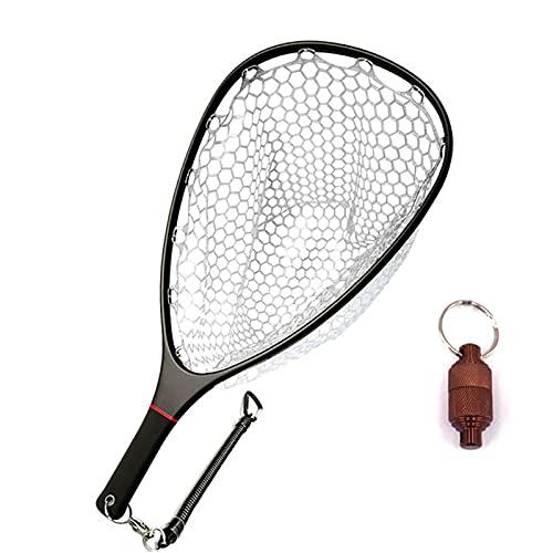 Aventik Floating Fishing Net Carbon Fiber Landing Net Clear Rubber Ghost Net Catch & Release Fishing Net (Black)