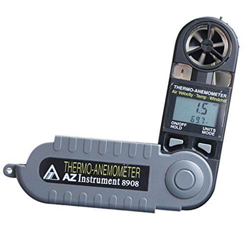XQAQX Anemómetro Medidor de Velocidad Viento Aire Anemómetro, Monitores Meteorológicos, Flujo de Aire de los medidores, Calidad del Aire, Anemómetro Plegable de Bolsillo Dos en uno