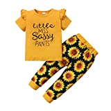 puseky Kids Baby Girl Sunflower Fashion Sassy Outfit Ruffled Shirt Floral Sunflower Pants