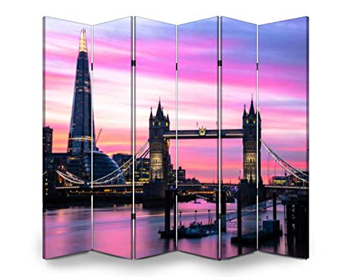 Wood Screen Room Divider tower bridge and london skyline at dusk pink clouds stock pictures, Folding Screen Canvas Privacy Partition Panels Dual-Sided Wall Divider Indoor Display Shelves 6 Panels