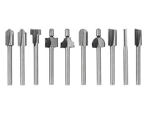 Tonsiki 10 Pieces 1/8''(3mm) Straight Shank HSS Woodworking Mini Rotary Router Bits Tool Set for Edge Treatment Grooving Wood Deburring Engraving and Milling