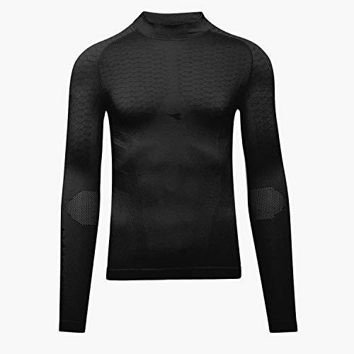 Diadora LS Turtle Neck ACT Maillot de ski et de sport pour homme Hidden Power Active Noir Taille L/XL