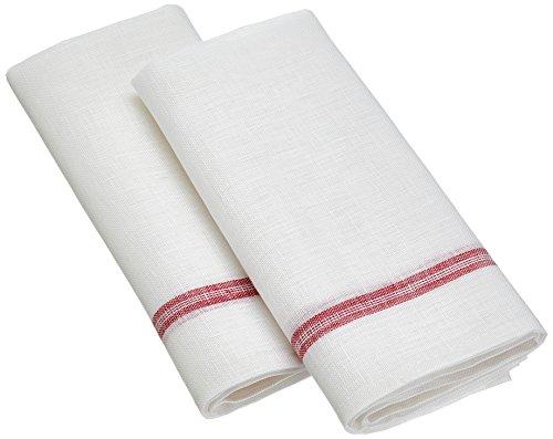 CALITEX Papierhandtücher Glas Set Wäsche-Küche 100% Leinen weiß 77x 57cm