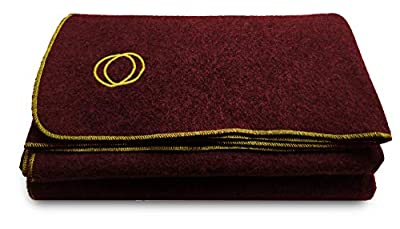 """Orion Outpost Trading Co. Vestige Military Wool Blanket, 4+ lbs, We Donate 1 Blanket for Every 5 Sold, 66"""" x 84"""" (Maroon/Gold Stitching)"""