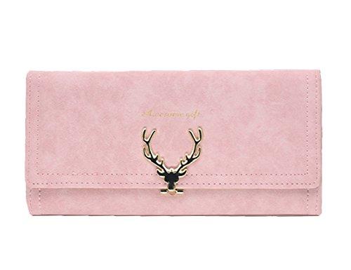 DNFC Geldbörse Damen Portemonnaie Lang Portmonee Elegant Clutch Große Kapazität Handtasche Geldbeutel PU Leder Geldtasche mit Reißverschluss für Frauen und Mädchen (Pink)
