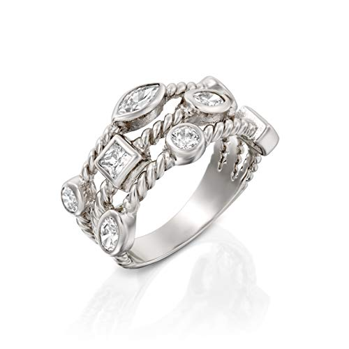 Paz Creations 925 Sterling Silver Cubic Zirconia Triple Row Band Ring (9)