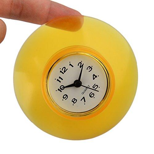 Vicoki, orologio da doccia, resistente all'acqua, mini orologio rotondo da bagno o da cucina, con ventosa in silicone, colore:giallo