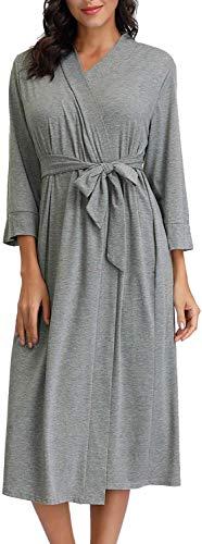 Zexxxy dames badjas katoen kimono saunamantel met diepe V-hals ochtendjas pyjama