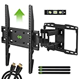 USX MOUNT Full Motion TV Wall Mount with Height Setting for Most 32-65 inch Flat Screen/LED/4K TVs, Swivel/Tilt TV Mount Bracket Max VESA 400x400mm, Holds up to 110lbs, for 16' Wood Stud.