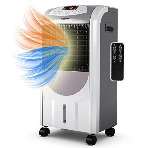 COSTWAY Heizlüfter mobil Klimaanlage Elektroheizung Luftkühler Heizgerät 2000W Heizen / 75W Kühlen / 8H Timer / 7L Wassertank / 70°Winkel/Fernbedienung