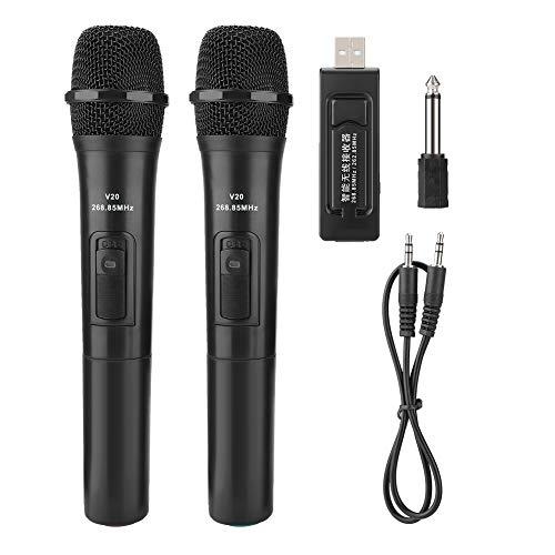 Micrófono inalámbrico, Universal UHF Micrófono de Mano inalámbrico con Receptor USB Audio dinámico Micrófono de Karaoke Amplificador de Audio inalámbrico para Karaoke Performance Church.
