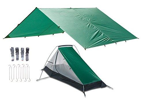 Aqua Quest West Coast Bivy Combo - 100% wasserdicht Camping Obdach Kit mit ultraleichtes Tarp 4 x 3 und Zelt, Heringe, Kompressionsriemen, Packsack