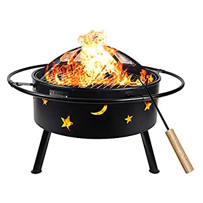 hmercy Fire Pit 30 Inch Outdoor fireplaces - Wood Burning Outdoor Fire pits for Outside with Spark Screen and Fire Poker for Picnic, Patio, Backyard and Garden, Black