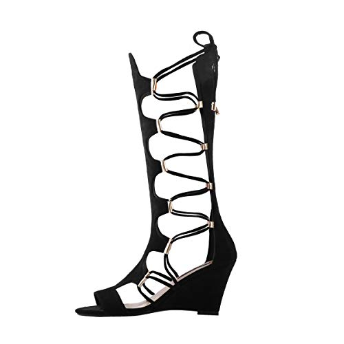 Yolkomo Women's Wedge Lace Up Gladiator Sandal Boots Fashion Sexy Cutout Mid Calf Back Zipper Sandals For Party Dress Spring Summer Black 12 M US